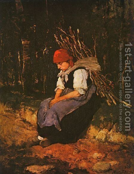 Woman Carrying Faggots (Rozsehordo no)  1873 by Mihaly Munkacsy - Reproduction Oil Painting