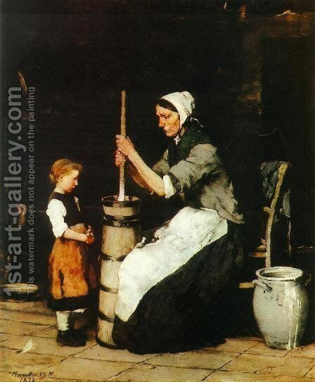 Woman Churning (Kopulo asszony)  1872-73 by Mihaly Munkacsy - Reproduction Oil Painting