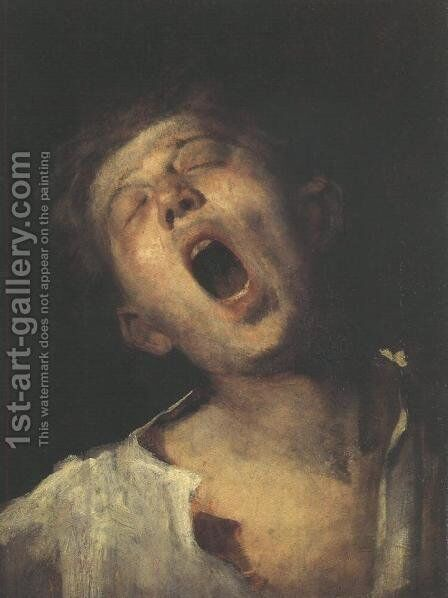 Yawning Apprentice (Asito inas)  1869 by Mihaly Munkacsy - Reproduction Oil Painting