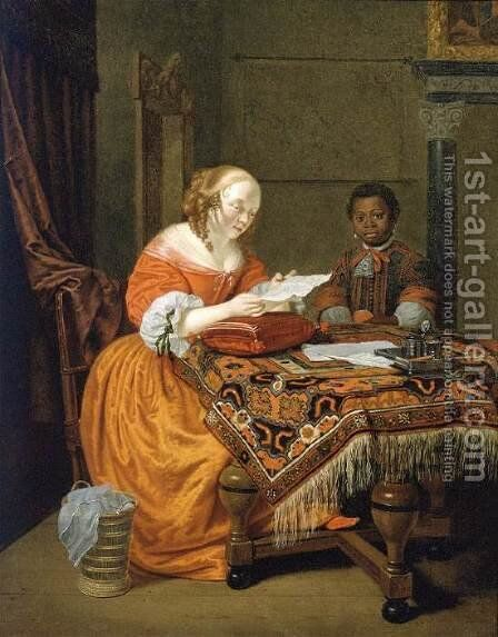 A Young Girl at a Table by Michiel van Musscher - Reproduction Oil Painting