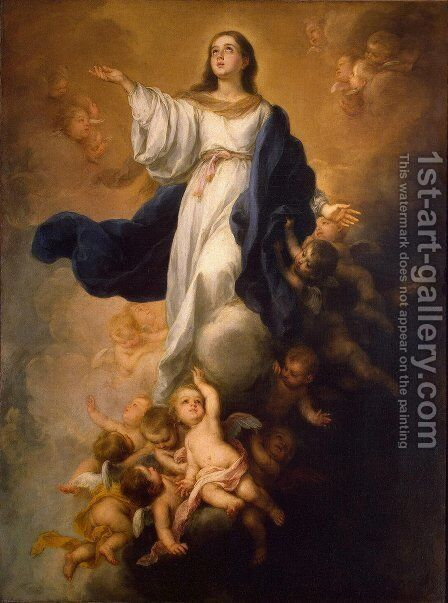 Assumption of the Virgin 1670s by Bartolome Esteban Murillo - Reproduction Oil Painting