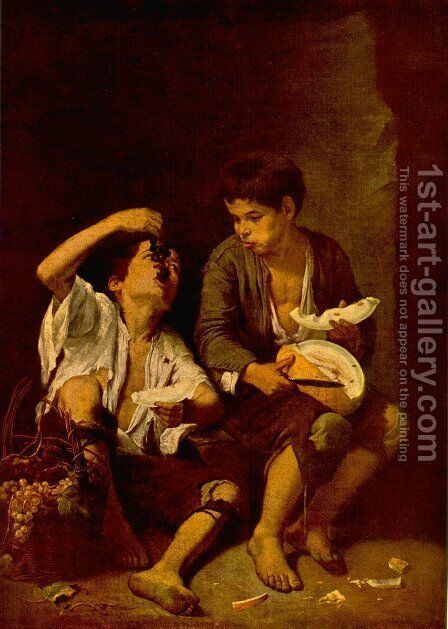 Boys Eating Fruit (Grape and Melon Eaters) 1645-46 by Bartolome Esteban Murillo - Reproduction Oil Painting