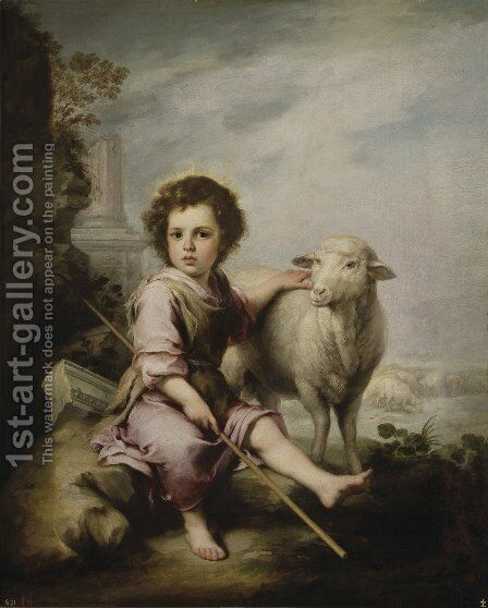 Christ the Good Shepherd c. 1660 by Bartolome Esteban Murillo - Reproduction Oil Painting