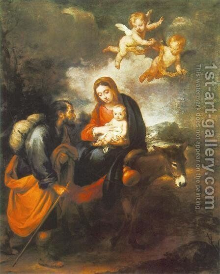 Flight into Egypt 1655-60 by Bartolome Esteban Murillo - Reproduction Oil Painting