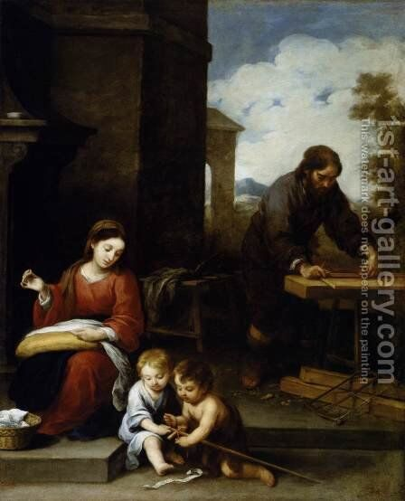 Holy Family with the Infant St John 1655-60 by Bartolome Esteban Murillo - Reproduction Oil Painting