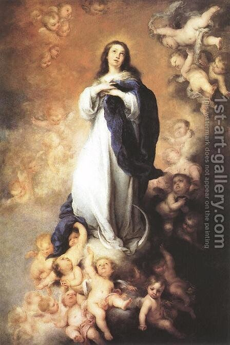 Immaculate Conception c. 1678 by Bartolome Esteban Murillo - Reproduction Oil Painting