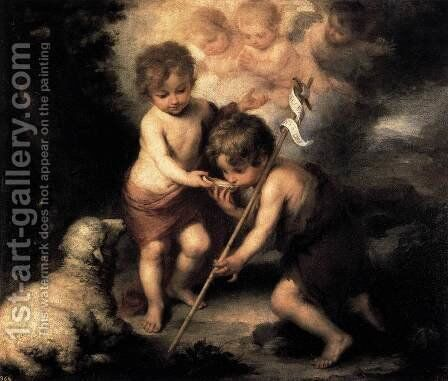 Infant Christ Offering a Drink of Water to St John 1675-80 by Bartolome Esteban Murillo - Reproduction Oil Painting
