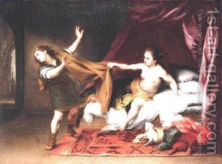 Joseph and Potiphar's Wife 1660s by Bartolome Esteban Murillo - Reproduction Oil Painting