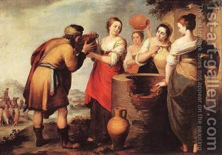 Rebecca and Eliezer c. 1650 by Bartolome Esteban Murillo - Reproduction Oil Painting