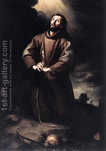 St Francis of Assisi at Prayer 1645-50 by Bartolome Esteban Murillo - Reproduction Oil Painting