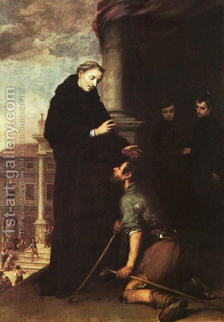 St. Thomas of Villanueva Distributing Alms by Bartolome Esteban Murillo - Reproduction Oil Painting