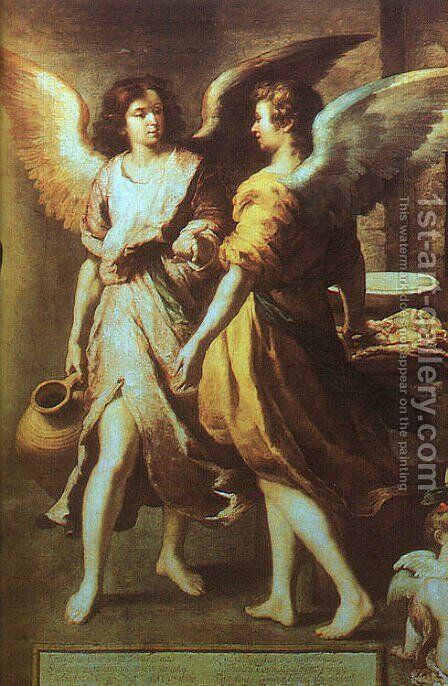 Angels' Kitchen (detail) 1646 by Bartolome Esteban Murillo - Reproduction Oil Painting