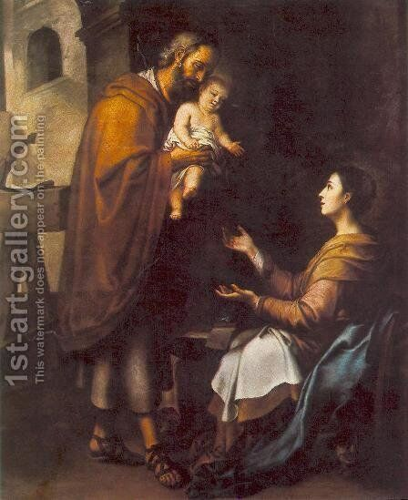The Holy Family c. 1660 by Bartolome Esteban Murillo - Reproduction Oil Painting