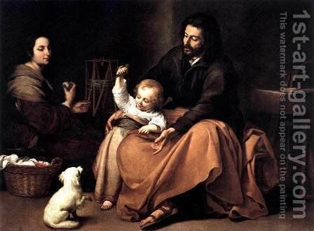 The Holy Family with a Bird 1650 by Bartolome Esteban Murillo - Reproduction Oil Painting