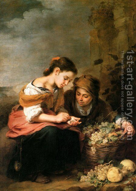 The Little Fruit Seller 1670-75 by Bartolome Esteban Murillo - Reproduction Oil Painting