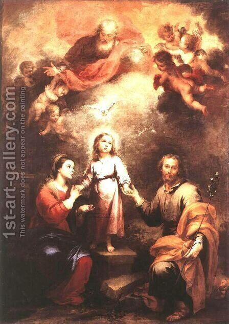 The Two Trinities 1675-82 by Bartolome Esteban Murillo - Reproduction Oil Painting