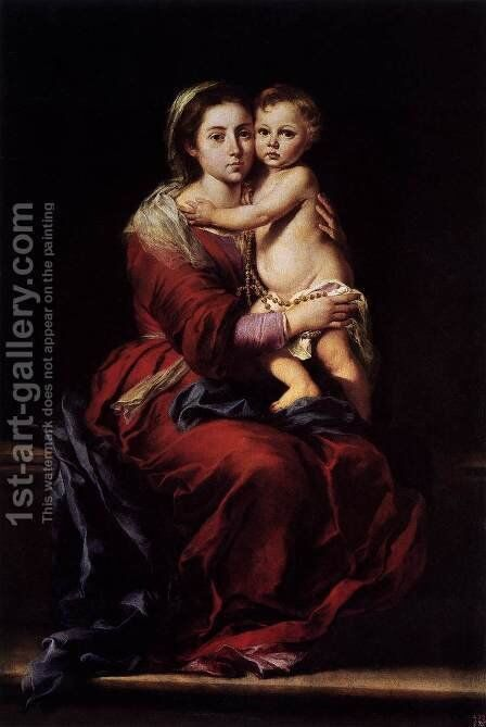 Virgin and Child with a Rosary 1650-55 by Bartolome Esteban Murillo - Reproduction Oil Painting
