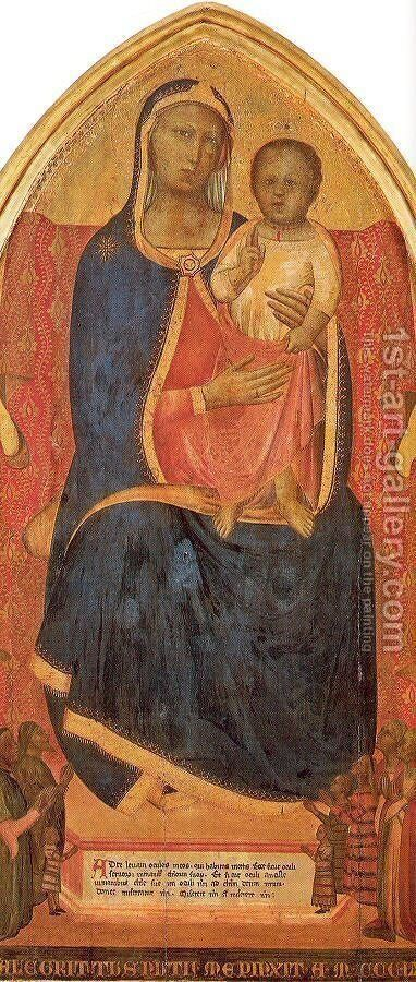 Central Panel of a Tryptych 1365 by Allegretto Nuzi - Reproduction Oil Painting
