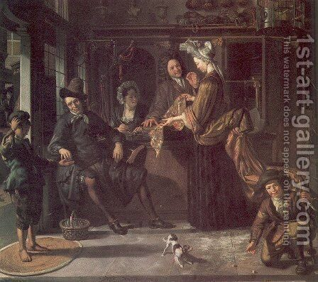The Cloth Shop 1709 by Matthijs Naiveu - Reproduction Oil Painting