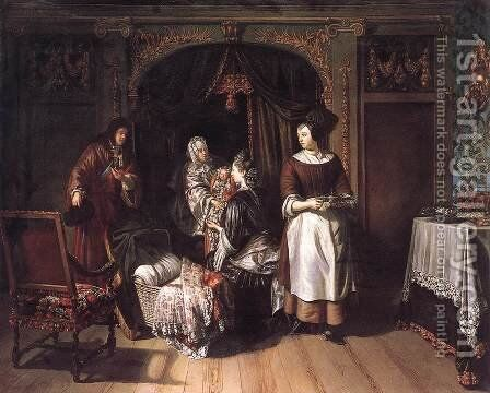 Visit to the Nursery c. 1700 by Matthijs Naiveu - Reproduction Oil Painting