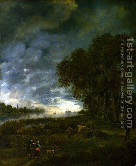 A Landscape with a River at Evening 1650 by Aert van der Neer - Reproduction Oil Painting