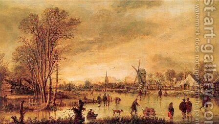 A River in Winter by Aert van der Neer - Reproduction Oil Painting