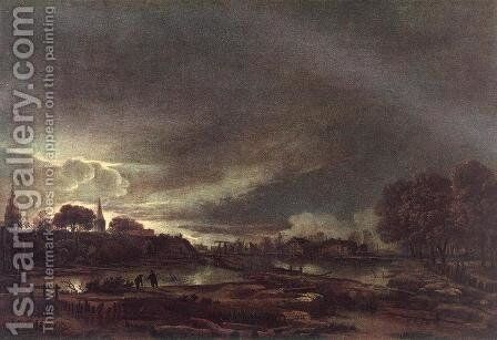 Small Town at Dusk by Aert van der Neer - Reproduction Oil Painting