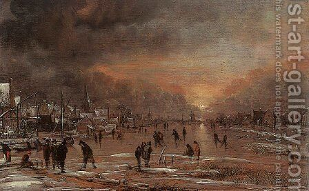 Sports on a Frozen River by Aert van der Neer - Reproduction Oil Painting