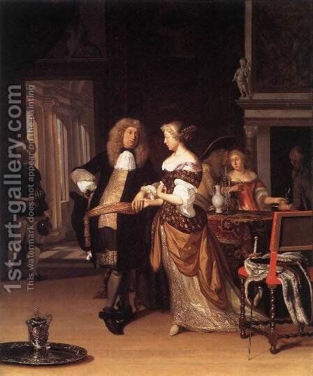Elegant Couple in an Interior 1678 by Eglon van der Neer - Reproduction Oil Painting