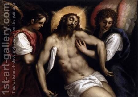 The Dead Christ with Two Angels c. 1600 by Jacopo d'Antonio Negretti (see Palma Giovane) - Reproduction Oil Painting