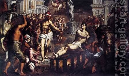 The Martyrdom of St Lawrence 1575 by Jacopo d'Antonio Negretti (see Palma Giovane) - Reproduction Oil Painting