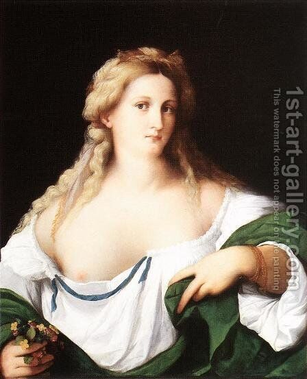 A Blonde Woman by Jacopo d'Antonio Negretti (see Palma Vecchio) - Reproduction Oil Painting