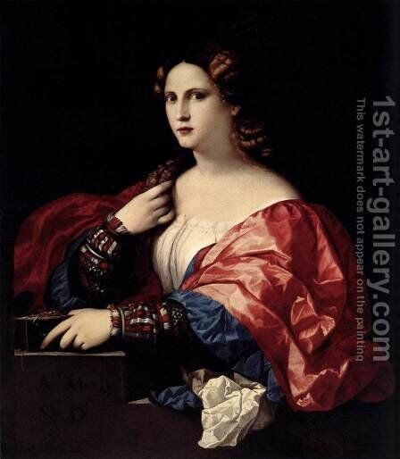 Portrait of a Young Woman c. 1525 by Jacopo d'Antonio Negretti (see Palma Vecchio) - Reproduction Oil Painting