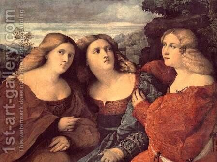 The Three Sisters (detail) 1520s by Jacopo d'Antonio Negretti (see Palma Vecchio) - Reproduction Oil Painting