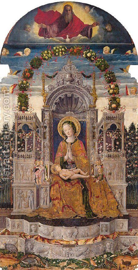 Virgin and Child Enthroned 1455 by Antonio da Negroponte - Reproduction Oil Painting