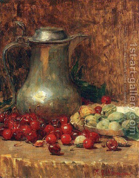 Still Life- Pewter Pitcher and Cherries 1890-1902 by Willie Betty Newman - Reproduction Oil Painting
