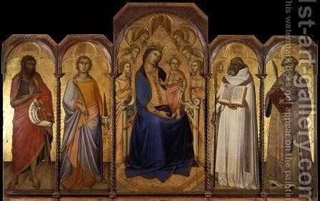 Virgin and Child with Saints 1362 by Niccolo Di Ser Sozzo - Reproduction Oil Painting