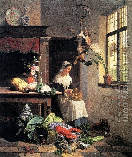 A Maid in the Kitchen by David Emil Joseph de Noter - Reproduction Oil Painting