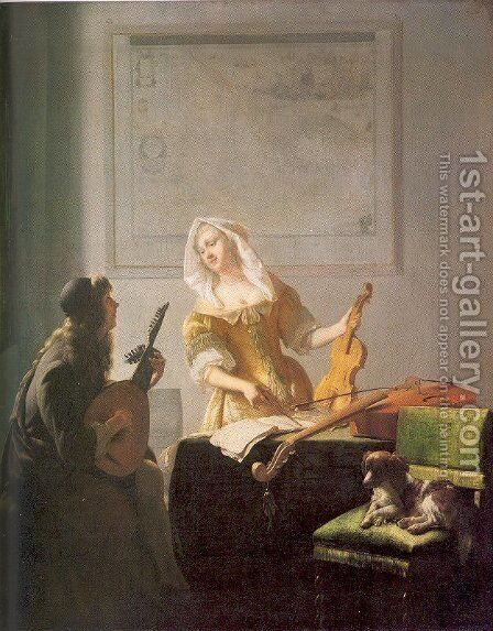 The Music Lesson 1671 by Jacob Ochtervelt - Reproduction Oil Painting