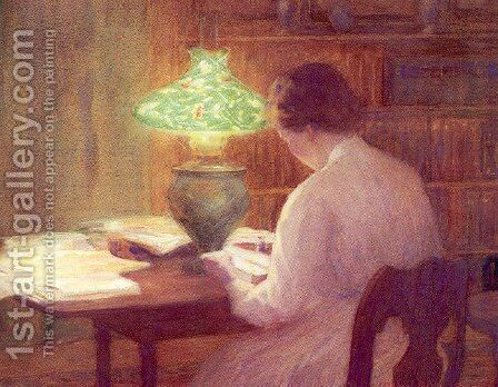 The Evening Lamp 1912 by Mina Fonda Ochtman - Reproduction Oil Painting