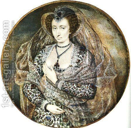An Unidentified Lady  1605 by Isaac Oliver - Reproduction Oil Painting