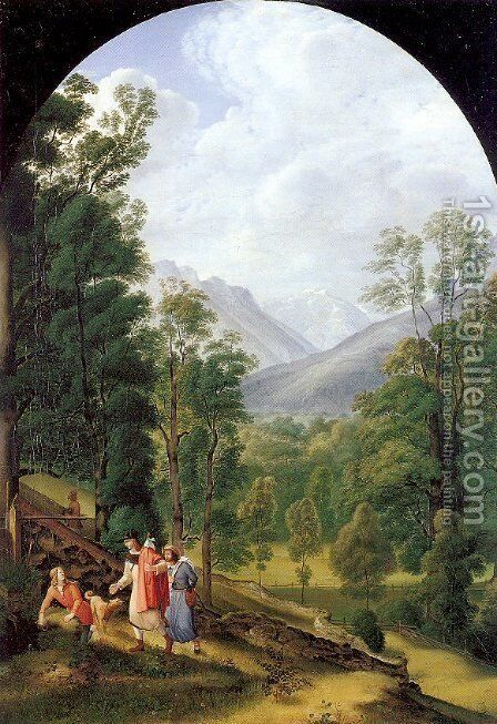 Landscape near Berchtesgaden 1817 by Johann Heinrich Ferdinand Olivier - Reproduction Oil Painting