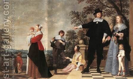 Portrait of a Bruges Family 1645 by Jacob van, the Elder Oost - Reproduction Oil Painting