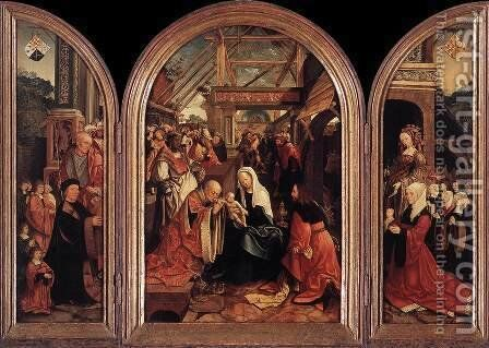 Tryptych with the Adoration of the Magi, Donors and Saints by Jacob Cornelisz Van Oostsanen - Reproduction Oil Painting