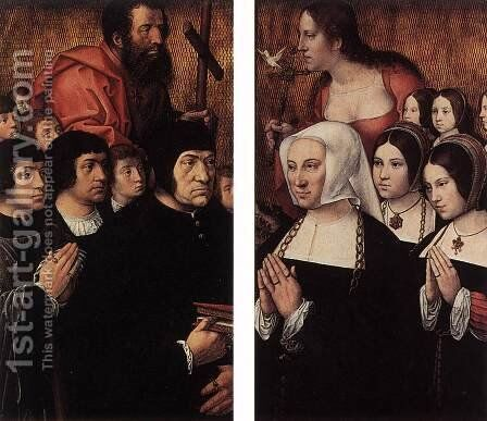 Haneton Triptych (wings) by Bernaert van Orley - Reproduction Oil Painting