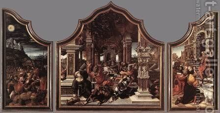 Triptych of Virtue of Patience 1521 by Bernaert van Orley - Reproduction Oil Painting