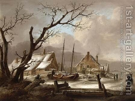 Winter Landscape by Jan van Os - Reproduction Oil Painting
