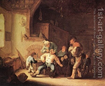 Barber Extracting of Tooth 1630-35 by Adriaen Jansz. Van Ostade - Reproduction Oil Painting
