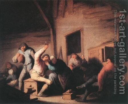 Carousing Peasants in a Tavern c. 1635 by Adriaen Jansz. Van Ostade - Reproduction Oil Painting
