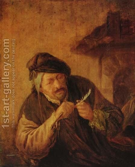 Cutting the Feather by Adriaen Jansz. Van Ostade - Reproduction Oil Painting